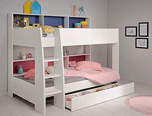 expendio Etagenbett Tamina 11 Weiß209x165x132cm Rosa blau Schubkasten Bett Hochbett Stückbett Bett für mädchen und Jungen