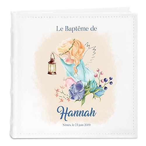 Maverton Album photo bébé à pochettes, Album Photo à personnaliser en cuir blanc, Cadeau...
