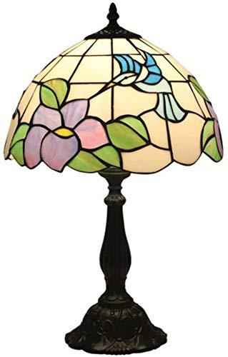 AWCVB Lámpara De Mesa De Mesa Tiffany Vintage Lámpara De Color Funda De Vidrio Alianza De Zinc