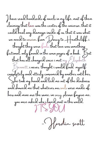 Hardin Scott's Letter To Tessa Notebook: (110 Pages, Lined, 6 x 9)