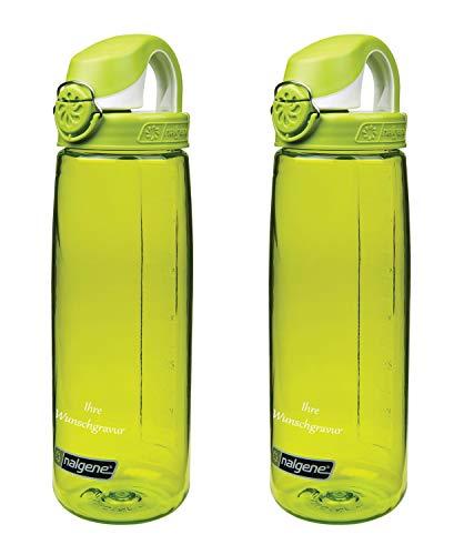 Nalgene Trinkflasche 'OTF' – 0,65L (2X Grün-grün-Weiss, mit Namensgravur)