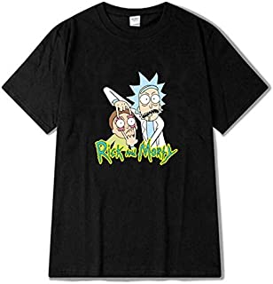 Anime Rick and Morty Men's T-Shirt Trend Casual Loose Breathable Comfortable Short Sleeve Tops-XL