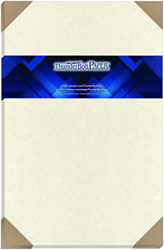 """50 Solf White Parchment 60# Text (=24# Bond) Paper Sheets - 11"""" X 17"""" (11X17 Inches) Tabloid