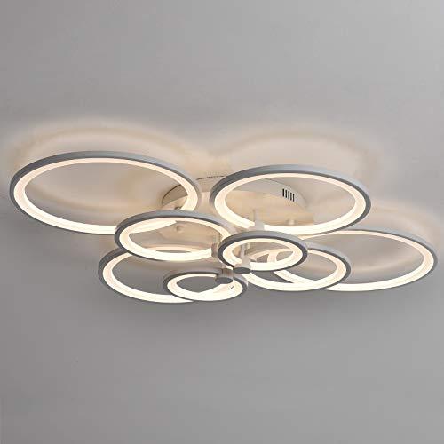 LED Modern Deckenlampe Einfach und Elegant 8 Köpfe Design Innen Deckenleuchte Für Schlafzimmer Wohnzimmer Mit Fernbedienung Küche Esszimmer Weiß Acryl Metall Lampenschirm Dimmable