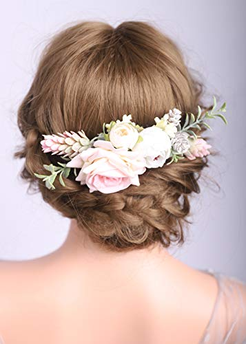Deniferymakeup Haarkamm mit Rosen-Blumen, für Hochzeiten, Brautschmuck, für Damen, Mädchen, Braut, Brautjungfer, Weiß und Hellrosa