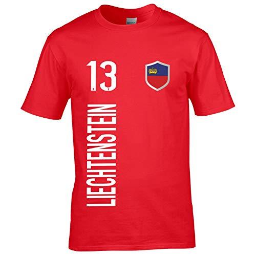 FanShirts4u Kinder Fanshirt Trikot Jersey Liechtenstein T-Shirt inkl. Druck Wunschname u. Wunschnummer EM WM (5/6 Jahre 110-116 cm, Liechtenstein/Rot)