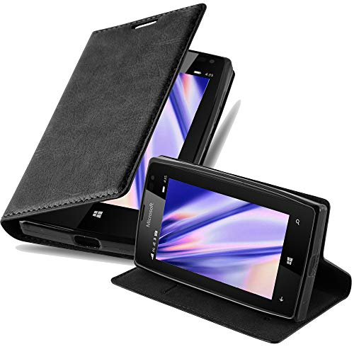 Cadorabo Custodia Libro per Nokia Lumia 435 in Nero di Notte - con Vani di Carte, Funzione Stand e Chiusura Magnetica - Portafoglio Cover Case Wallet Book Etui Protezione