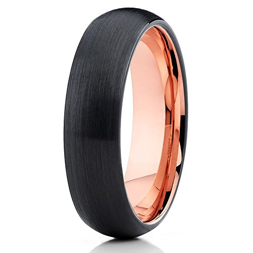 Silly Reyes 5mm oro rosa forma de cúpula de carburo de tungsteno anillos de boda unisex ajuste cómodo banda