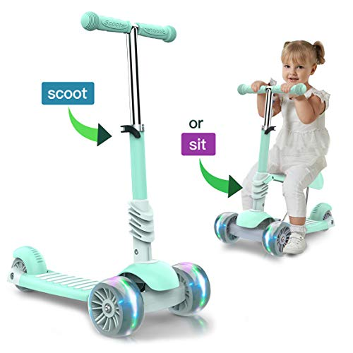 FUTIN Scooters for Kids,Kick Scooter with Flashing Wheels,3 Wheel Scooter with Detachable Seat for Toddles