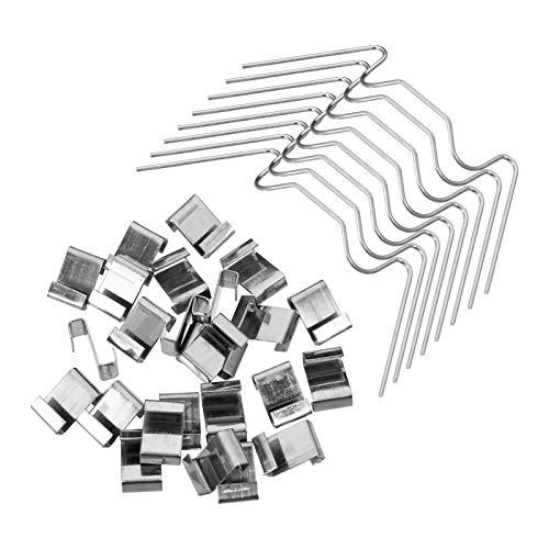 Firtink 100 Stück Gewächshaus-Verglasungs-Clips aus Edelstahl, W-Typ-Befestigungsclips und Z-Überlappungs-Clips für Gewächshaus, Edelstahl-Glasklemmen für Gewächshaus, 1 mm dick (Silber)