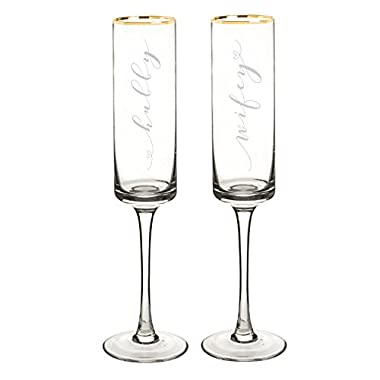 Cathy's Concepts Hubby & Wifey 8 oz. Gold Rim Contemporary Champagne Flutes (set of 2), clear gold