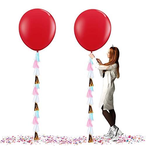 Globos Gigantes de Fiesta, Globos de Colores, Globos Grandes de látex de 36 Gulgadas,para Fiesta Cumpleaños Bodas Bautizo Graduación Navidad Carnaval Celebraciones (Rojo)