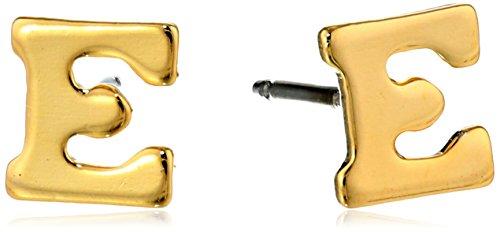 """1928 Jewelry 14k Gold-Dipped """"E"""" Initial Button Stud Earrings"""