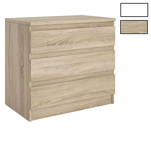 CARO-Möbel Kommode Dande Sideboard Schubladenkommode mit 3 grifflosen Schubladen in Sonoma Eiche