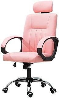 BGY Silla de Oficina, sillas de Escritorio Acolchadas y Suaves Silla de computadora de Cuero sintético con Respaldo Alto con Base cromada Silla giratoria de Altura Ajustable, Rosa Oscuro