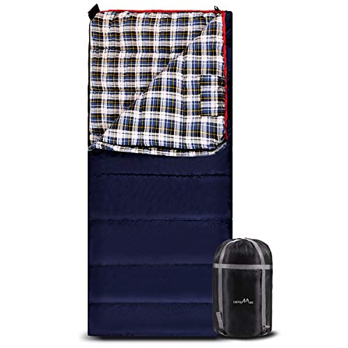 CAMPMAX Flannel Sleeping Bag for Adults, 3-4 Season Warm Cotton Sleeping Bag for Camping, Envelope Blue with 2lbs Filling(75'x33')