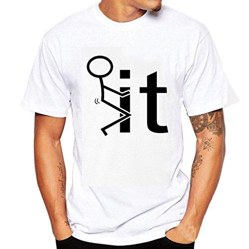 Achselshirt Für Männer Goosun Male Drucken T-Shirt Hemden Kurzarm T-Shirts Tops Casual Bluse Herren Sommer O-Ausschnitt Pullover Oberteile Trägershirt Sweatshirt Weiß T Shirt (L2, Weiß)