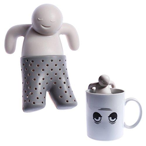 wortek Teesieb Mr. Tea Teaman Teemännchen Tee-Zubereitung Teeei Tee-Filter Grau Silikon wiederverwendbar (Lebensmittelgeeignet, geruchslos, spülmaschinenfest)