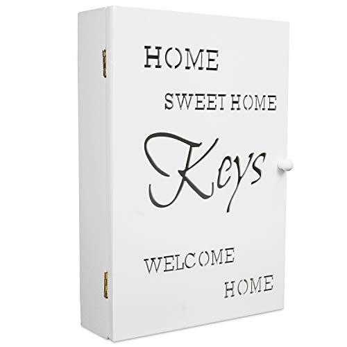 Schlüsselkasten 'Home Sweet Home' 22x7xH32cm Weiß 6 Haken Holz Schlüsselbox Schlüsselschrank
