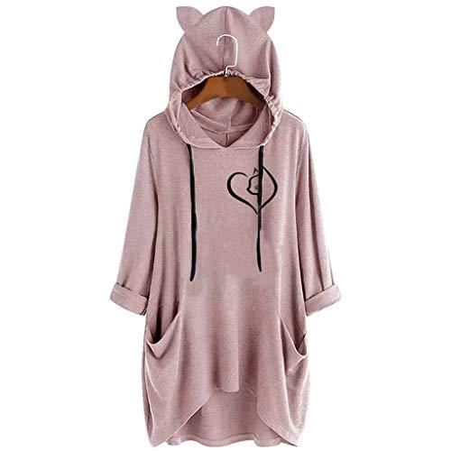 BOLANQ Damen Pullover top Shirt, Pinker sweatshirtstoff XXL ärmelloser Mann Camouflage Abendkleider...