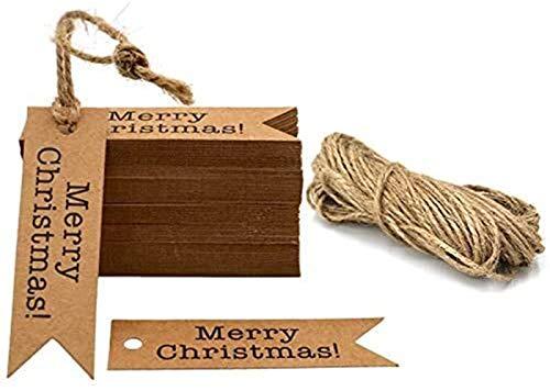 LQXZJ Weihnachtsdekorationen Frohe Weihnachten Geschenkanhänger, 200 Kraftpapier Schlagwörter, 2 x 7 cm hängende Dekoration Schlagwörter Event Party liefert