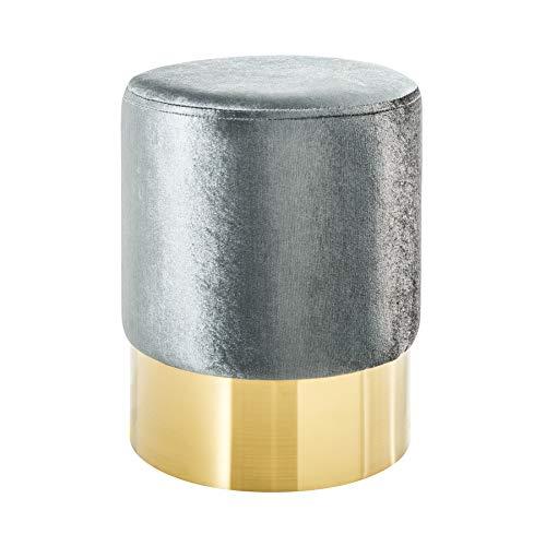 Riess Ambiente Eleganter Sitzhocker MODERN BAROCK SAMT Silber Gold Couchtisch Fußhocker Hocker Samtstoff