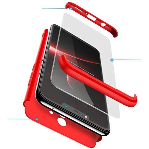 BESTCASESKIN Funda Compatible con Xiaomi Mi 8 Lite, Carcasa Móvil de Protección de 360° 3 en 1 Desmontable con HD Protector de Pantalla Caso Case Cover [Anti Huellas Dactilares] Rojo