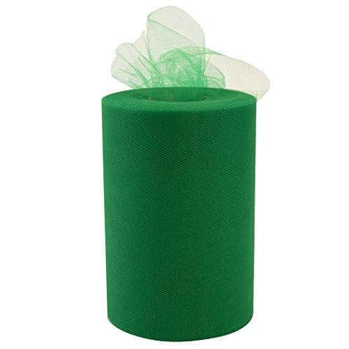 """Emerald Green Tulle Christmas Decor - 6"""" x 100 Yards, St. Patrick's Day, Fabric Netting Ribbon, Wreath, Garland, Swag, Streamers, Gift Wrapping, Bows"""