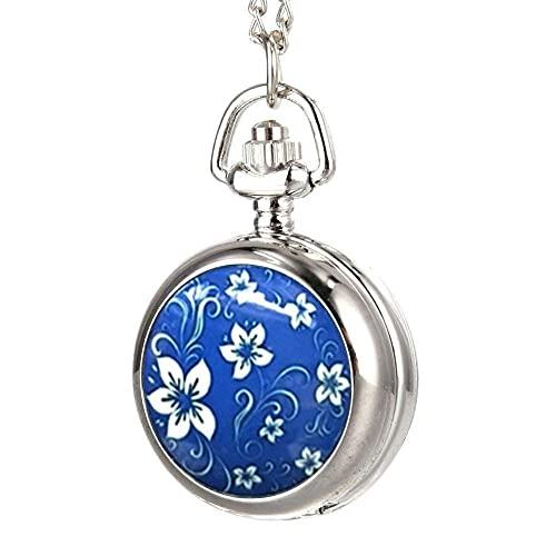 Moda Vintage Mujer Reloj de Bolsillo Aleación Flores Azules Patrón Lady Girl Suéter Cadena Collar Colgante Reloj Regalos, Relojes de Mujer