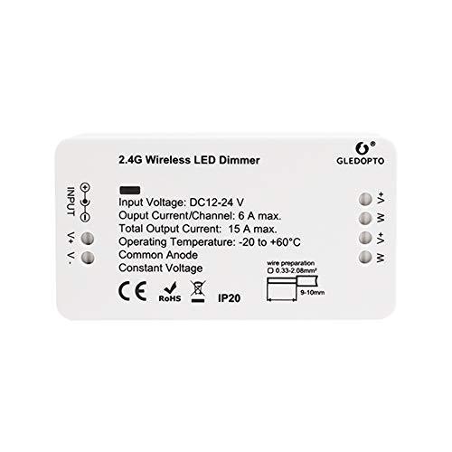 GLEDOPTO LED ZigBee Controller Steuergerät für einfarbige LED in Weiß Warmweiß Kaltweiß Neutralweiß mit 12V oder 24 Volt getestet mit Philips Hue*, Alexa Echo Plus, Homee, SmartThings