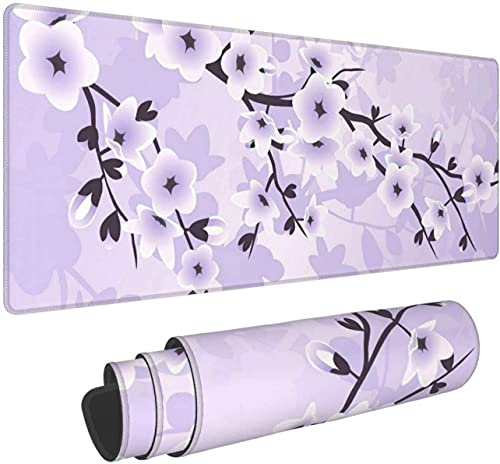 Floral Cherry Blossoms Gaming Mouse Pad XL Extended Large Mouse Mat Desk Pad Stitched Edges Mousepad Long Non-Slip Rubber Base Mice Pad 31.5X11.8 Inch