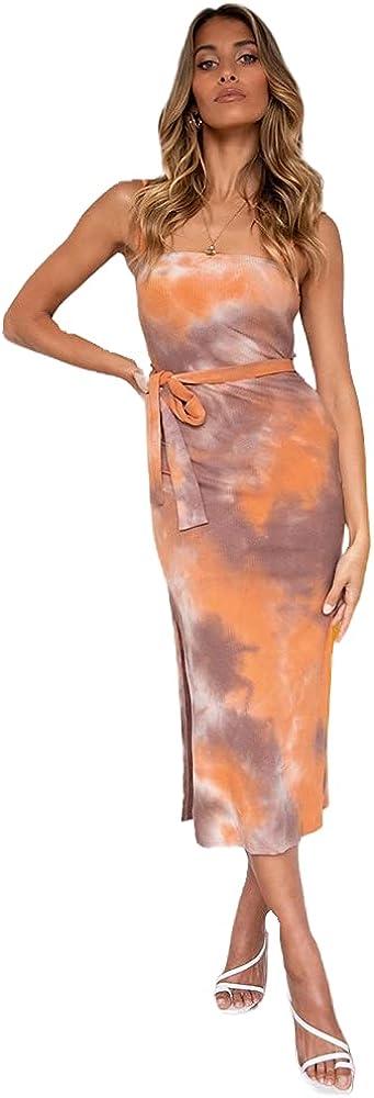 Heistheone Womens Sexy Spaghetti Strap Tie-dye Print Dress Summer Tube Top Slim Split Cocktail Dresses with Belt