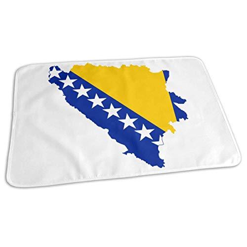 Bosnische kaart Vlag Baby Herbruikbare veranderen Pad Cover Draagbare reizen veranderen Mat 27.5x19.7 inch