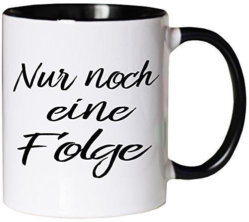 Mister Merchandise Kaffeebecher Tasse Nur noch eine Folge Netflix Prime Video netflixen Buch lesen Bücher Teetasse Becher Weiß-Schwarz