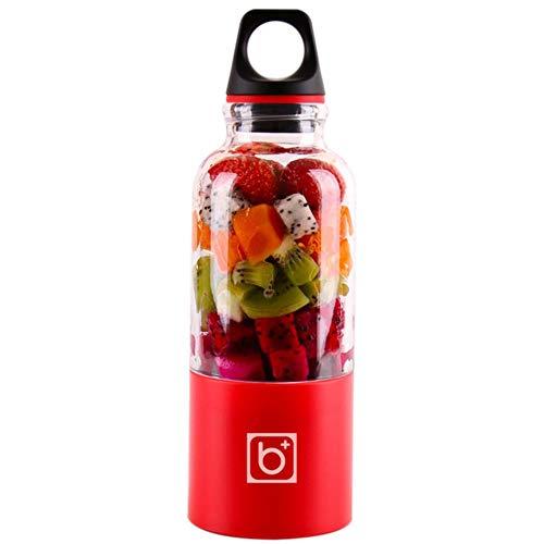 xmwm Portátil Exprimidor Copa USB Recargable 500ml Eléctrico Automático Bingo Verduras Jugo de Frutas Herramientas Fabricante Taza Licuadora Mezclador Botella, Rojo