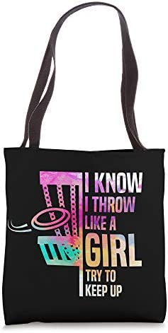 I Know I Throw Like A Girl Try To Keep Up Disc Golf Tote Bag product image