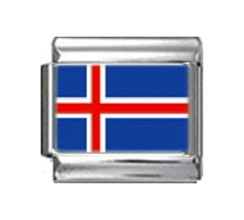 Stylysh Charms Iceland Icelandic Flag Photo Italian 9mm Link PC079 Fits Nomination Classic