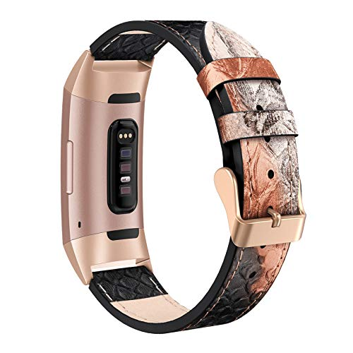 SWEES Leather Bands Compatible Charge 3 & Charge 3 SE Fitness Tracker, Genuine Leather Band Strap Wristband Replacement for Women Men Small & Large, Black, Rose Gold, Beige, Brown, Grey, Tan