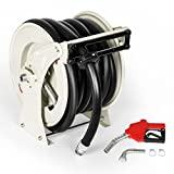 Fuel Hose Reel Retractable 1 X 49Ft Extra Long Premium Hose, Automatic Shrinking Heavy Duty Industrial Spring Driven Steel Construction Dual Arm For Fuels Gas Station/Auto Repair Shop/Aviation/Ship