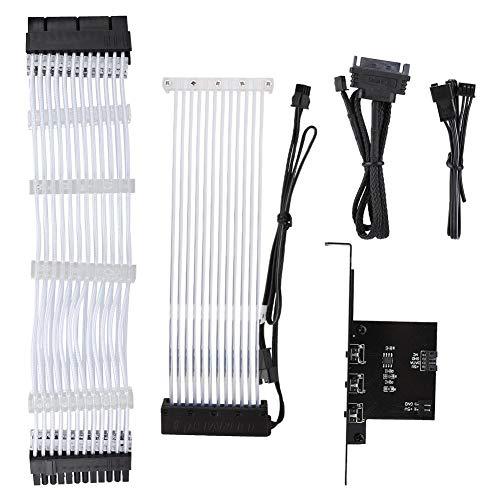 Diyeeni Sleeved Power Extension Cable met 1 moederbord, Neon Line 24Pin chassis Power Light Extension Cable met 12 kleine LED-koplampen