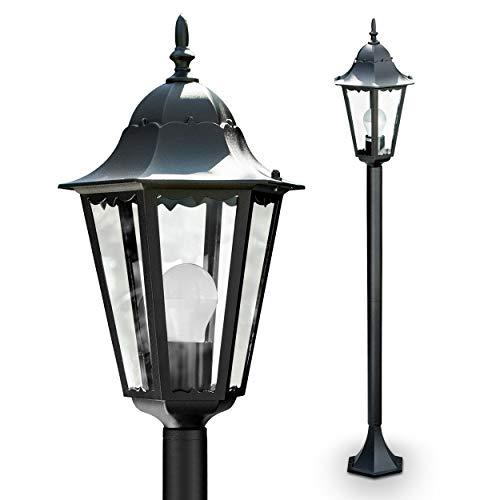 Außenleuchte Hongkong Frost, Stehleuchte in antikem Look, Aluguß in Schwarz matt mit Klarglas-Scheiben, Wegeleuchte 120 cm, Retro/Vintage Gartenlampe, E27-Fassung, max. 100 Watt, IP44