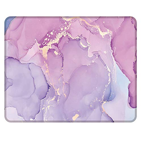 NNAKAPAKA Alfombrilla de ratón antideslizante de goma cuadrada, alfombrilla de ratón para ordenador portátil para trabajar y jugar, 260 x 210 mm, con borde cosido (Marble Romatic Light Purple Square)