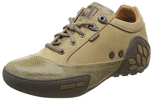 Woodland Men's Khaki Leather Sneakers - 10 UK/India (44 EU)