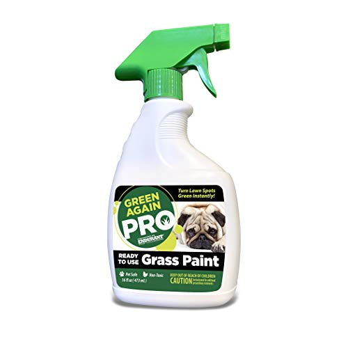 Pre-Mixed Grass and Turf Paint - All Natural Pet-Friendly Lawn Colorant Turns Spots Green Again with Eco-Friendly Point-and-Spray Application (16 oz) (Warm Season Grasses)