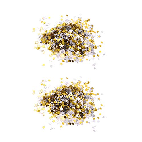 MagiDeal 2pcs Star Sprinkle Confetti Table Scatter Party Suministros de Boda Gold Sliver