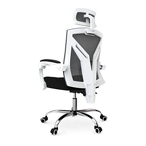 Hbada Ergonomic Home Office Chair - High-Back Desk Chair Racing Style with Lumbar Support - Height Adjustable Seat,Headrest- Breathable Mesh Back - Soft Foam Seat Cushion, White