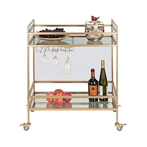 Carritos de compra Sky Wine 2 Nivel de hierro Servicio Trolley Hogar Hotel Restaurante Rack de vino Trolley de almacenamiento multifuncional (Oro, 81 * 71 * 36 cm) Rack Un carro para almacenar tempora