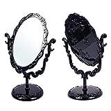 miaoyu Espejo de tocador cosmético negro mariposa giratoria vintage gótico rosa soporte compacto espejo de maquillaje tamaño pequeño