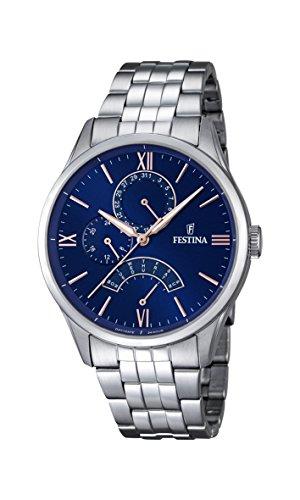 Festina F16822/3 orologio al quarzo da uomo, quadrante blu, display analogico e cinturino argentato in acciaio inox