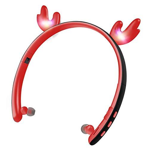 Xlin LED Cartoon Glauer Ears 5.0 Wireless Bluetooth Headset Faltbare Karte in die Ohren (Farbe: Rot)